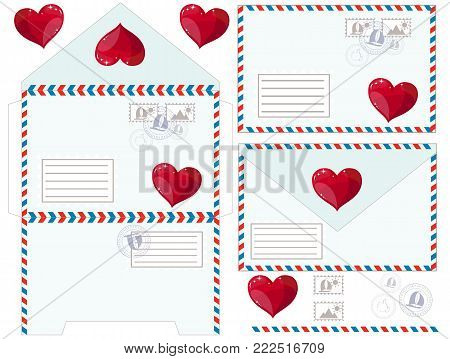 Valentine letter, flat icon. Stock flat vector illustration