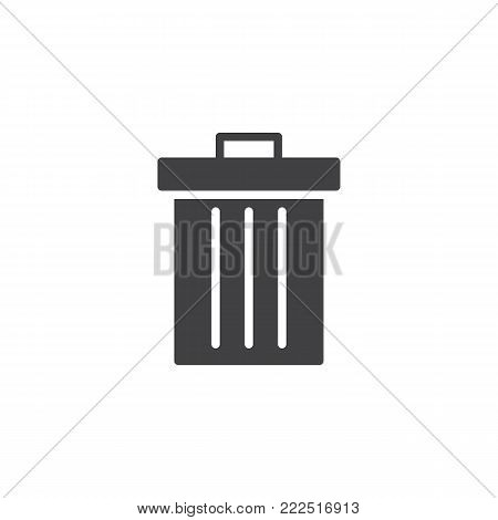 Trash can icon vector, filled flat sign, solid pictogram isolated on white. Dustbin symbol, logo illustration.