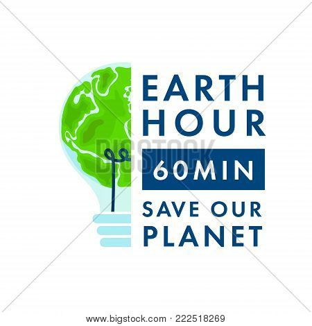 Earth planet . Vector illustration of the planet in light bulb on a white background. Earth Hour.