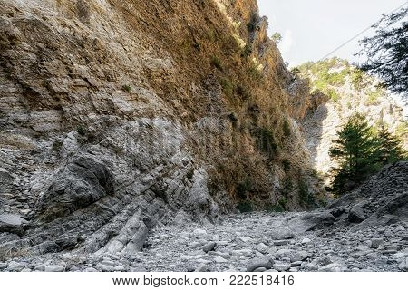 Dry riverbed at Samaria gorge national park at Crete island, Greece