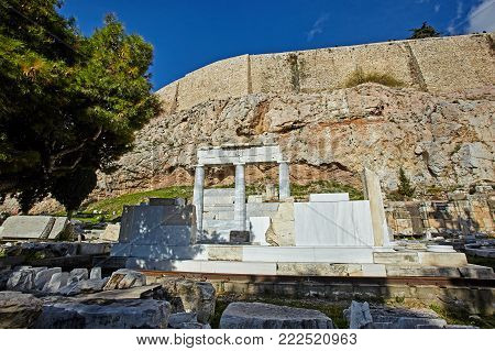 Ancient Monuments Of Acropolis In Athens, Greece.