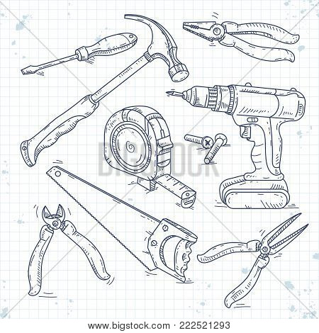 Vector illustration, hand sketch icons set of carpentry tools, a saw, pliers, screwdriver and tape measure are drawn on notebook cell