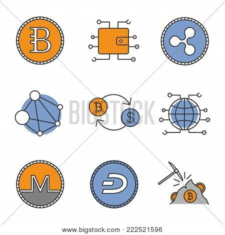 Cryptocurrency color icons set. Bytecoin, digital wallet, ripple, blockchain, bitcoin exchange, global cryptocurrency, monero, dashcoin, mining hardware. Isolated vector illustrations