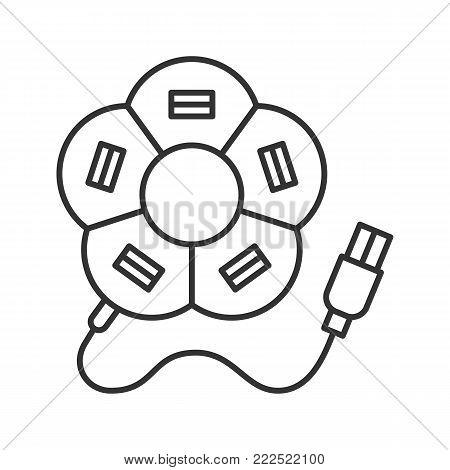 Flower shape USB hub linear icon. Thin line illustration. Multi plug. Contour symbol. Vector isolated outline drawing