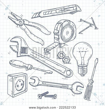Vector illustration, hand sketch icons set of carpentry tools, pliers, screwdriver, light bulb and the wrench drawn on notebook cell
