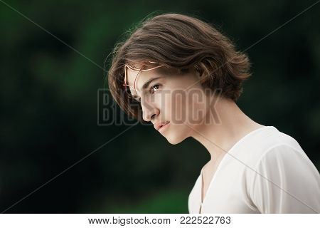 Portrait of handsome man with crown in forest. Prince of elves. Noble fairy elf in the magic forest. Fantasy. Fairy tale.