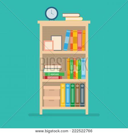 vector illustration of book on bookshelf.home interior design