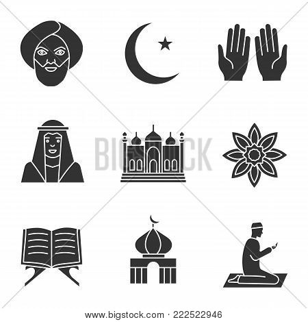 Islamic culture glyph icons set. Muslim man, ramadan moon, islamic prayer, mosque, quran book, muslim star. Silhouette symbols. Vector isolated illustration