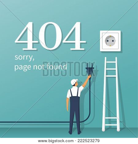 404 Error, page not found. Connection error. Electrical outlet and plug in hand man disabled, concept. Isolated on background. Broken stairs. Vector illustration flat design. Network support service.