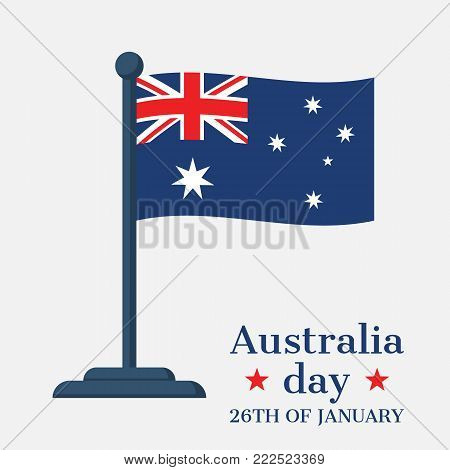 Happy Australia Day 26 January. National flag Australia. Greeting card, poster web banner, template design card, congratulation. Vector illustration flat style. Isolated on white background