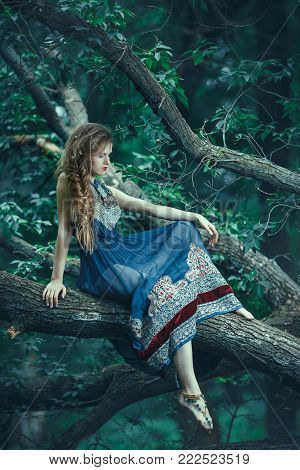 Elf. Beautiful girl in magic forest. Fantasy young woman in woods outdoors sitting on branch of the tree at night. Creative shot of young model in fantastic costume. Back view.