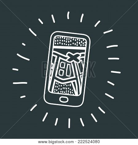 Vector cartoon illustration of mobile Navigation Route icon in black colors of Mobile Navigation Route and destination. Modern black and white concept on dark background.