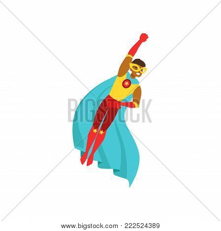 Afro american man character dressed as a super hero flying in the traditional heroic pose cartoon vector Illustration isolated on a white background