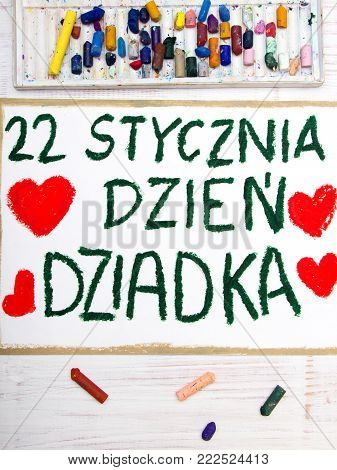 Polish Grandfather's Day card with words: Grandfather's Day. Colorful hand drawing and crayons.