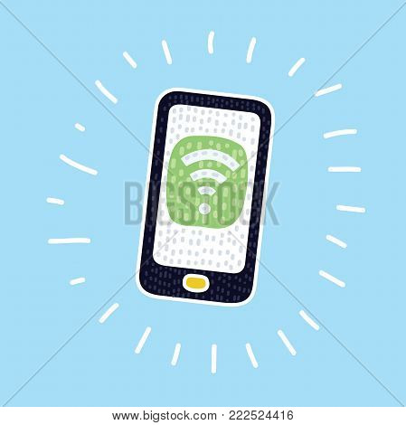 Vecor cartoon illustration of smartphone with wifi icon. Colorful modern concept