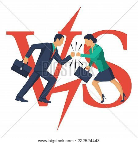 Two businessmen man and woman collided in battle. Versus concept. Vector illustration flat design. Isolated on white background. Dispute of people. Business conflict concept.