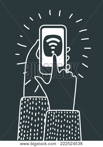 Vector cartoon illustration of human hands hold smartphone and touch by finger wifi icon. Communication connection technology internet ccncept in black color on dark background.