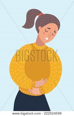 Vector cartoon illustration of woman suffering from stomachache pain. Girl having period bellyache. Health.