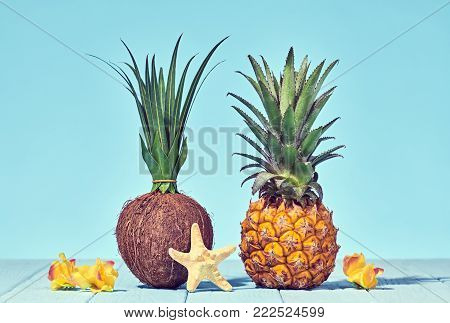 Tropical Pineapple and Coconut. Bright Summer Color. Creative Minimal. Hot Summer Vibes. Sunny Beach background. Trendy fashion Style.