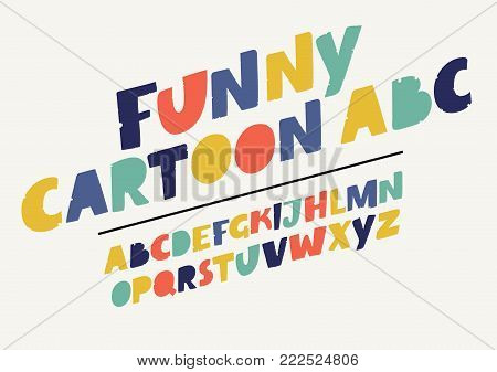Vector cartoon set of alphabet dynamic hand drawn symbols isolated on white background. Modern colorful playful English slanted alphabet in different colors.