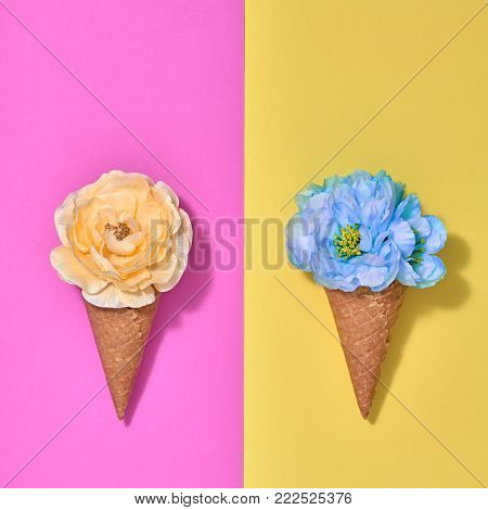 Ice Cream Cone Set with Flowers. Creative Minimal. Trendy fashion Style. Spring Summer Floral concept. Colorful Neon Design. Pop Art