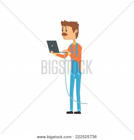 Computer technician or system administrator standing with laptop, networking service cartoon vector illustration isolated on a white background