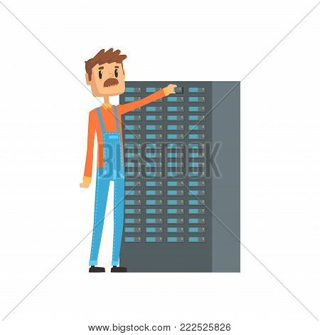 Network engineer administrator working with hardware equipment of data center, network engineer involved in maintenance of system modules cartoon vector illustration isolated on a white background