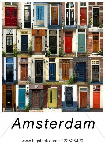 A collage of ancient doors from Amsterdam in Holland, presented in a white border with the city name Amsterdam.
