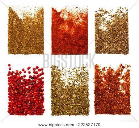 Coriander, sweet pepper, cumin, pink pepper, basil, hot red pepper