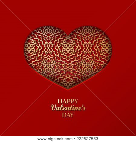 Valentine's Day Concept Background With Origami Heart Shaped Frame. 3D Paper Art Golden Heart With O