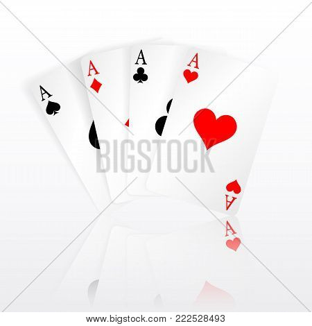 Set of four aces playing cards suits. Winning poker hand. Set of hearts, spades, clubs and diamonds ace with reflection.