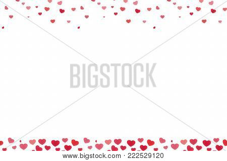 Valentine's day footer and header heart elements overlay design
