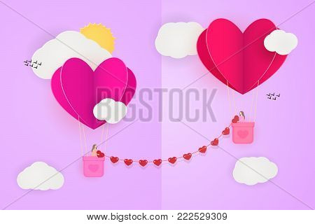 Lesbian enamored couple connected with heart chain, flying in the sky on paper cut heart-shaped balloons