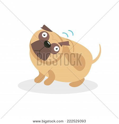 Cute funny pug dog character wagging the tail, pet dog cartoon vector Illustration on a white background