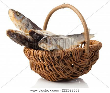 dried fish isolated on a white background