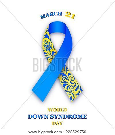 Vector illustration or world down syndrome day ribbon on white background