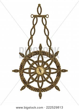 Compass, anchor, compass, steering wheel from old ropes. 3D-Rendering