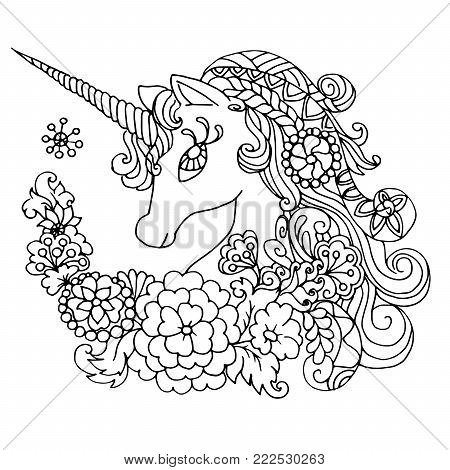 Coloring book. Fabulous white unicorn. Children's book illustration for the fairy tale.Fabulous white unicorn. book coloring for adults.