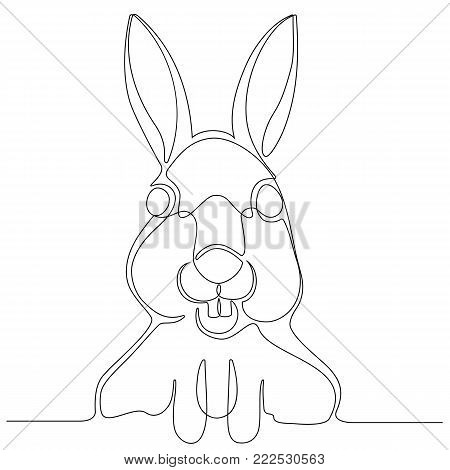 Continuous line drawing of a face rabbit. vector illustration.