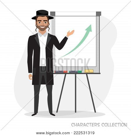 A jew man holds a presentation on flip chart. Vector illustration in a flat style.