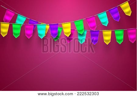 Bunting realistic vector 3d celebration festive decoration. Birthday party colorful mesh flag hanging garland purple background Holiday anniversary festival pennant illustration Invitation card design