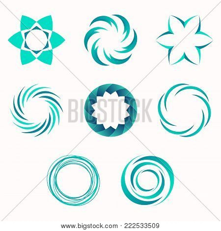 Abstract geometric shapes, symbols for your design. Symmetric center shapes. Turquoise colors. Design elements.Collection of abstract vector symbols isolated on light background. Vector illustration.