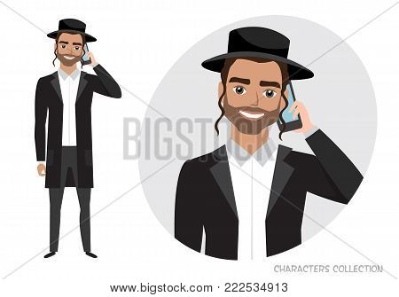 A jew man is talking on the phone. Vector character in cartoon style.