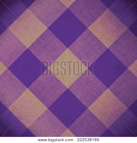 Vintage yellow and violet squares pattern fabric