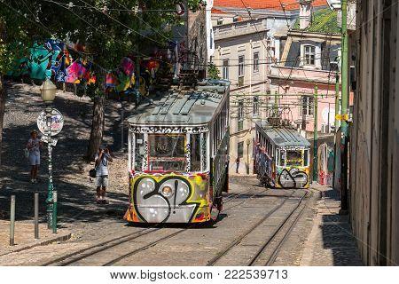 LISBON, PORTUGAL - SEPTEMBER 1, 2017: Gloria Funicular linking Baixa at Restauradores Square with Bairro Alto