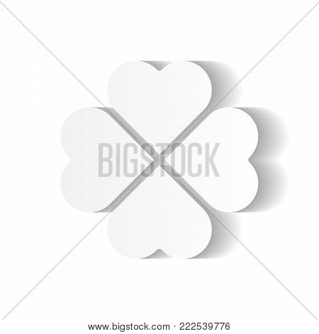 Shamrock - white four leaf clover icon. Good luck theme and Saint Patrick symbol design element. Simple vector illustration with long shadow effect.