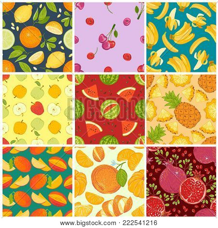 Fruit pattern vector fruity background and fruitful exotic wallpaper with fresh slices of watermelon orange apples and tropical fruits illustration backdrop set.