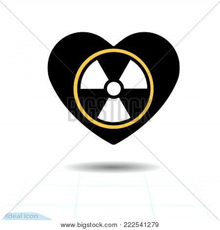 Heart icon. A symbol of love. Valentine s day with the sign of the Radioactive contamination symbol. Flat style for graphic and web design, logo. Vector illustration