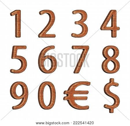 Numbering. Set of numbers made of wood. 3d rendering. Isolated object.