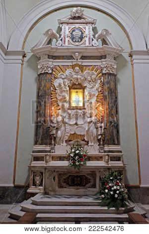 LUCCA, ITALY - JUNE 03: Virgin Mary, altar in Basilica of San Frediano, Lucca, Tuscany, Italy on June 03, 2017.